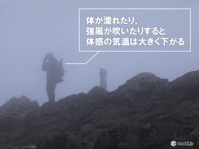 低体温症は雨・風・低温の順で危険