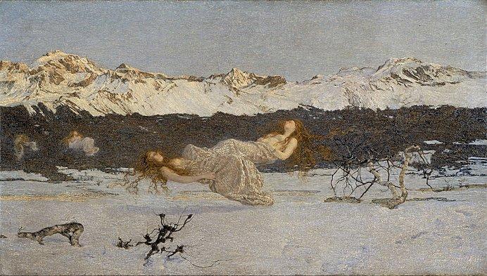 「淫蕩の罰(涅槃のプリマ)」他の象徴主義絵画とは一線を画すセガンティーニの幻想絵画