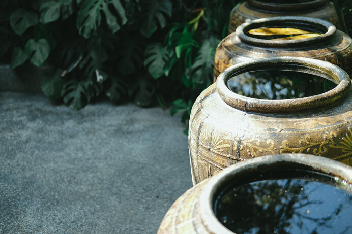 水資源が乏しいエリアでは雨水が飲水になります