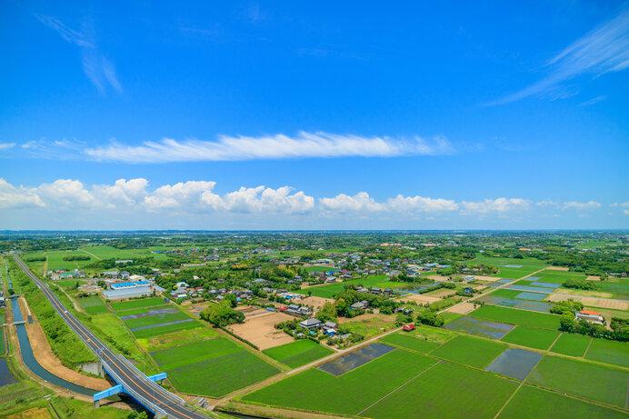 かつてのラッカセイ生産地・九十九里地方は今では豊かな水田が広がっています