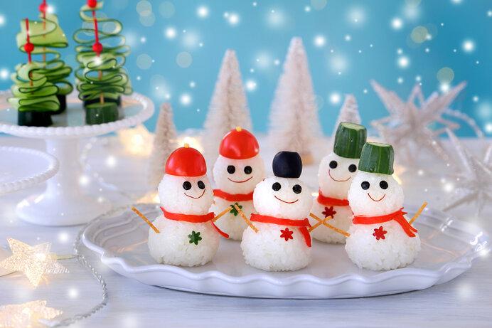 キュートな雪だるまおにぎり(クリスマスのオードブルにおすすめです)