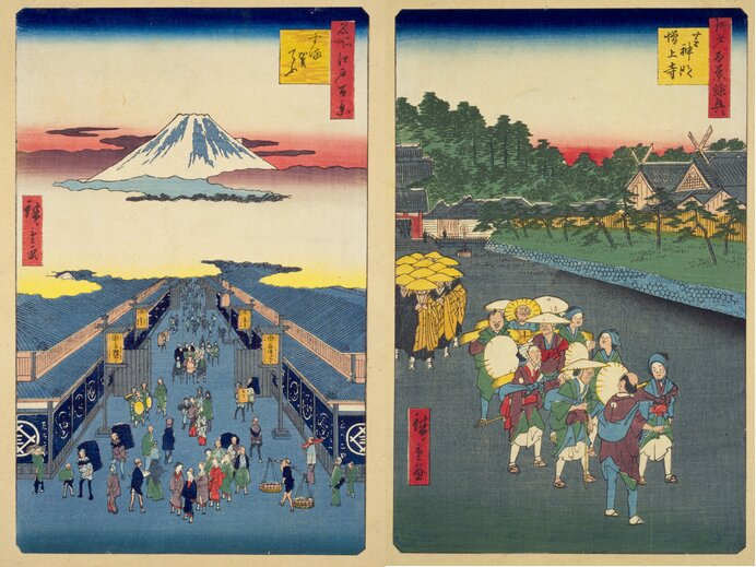 国立国会図書館アーカイブ  『江戸名所図会』より。風呂敷は必需品でした