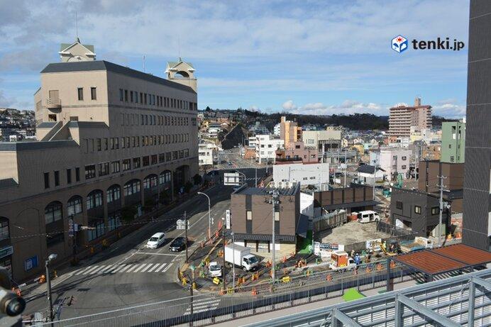 宮城県塩竃市海岸通 2021年2月 再建された塩竃中央公共駐車場の屋上より撮影