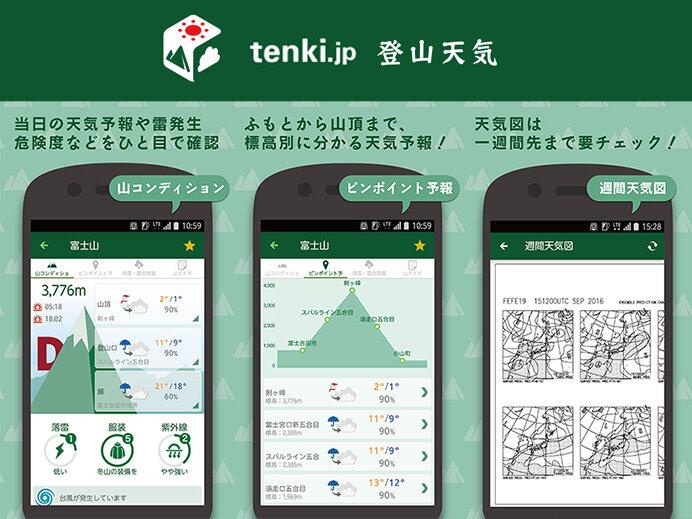 tenki.jp 登山天気アプリでは山頂の天気や登山指数などをチェックすることができます