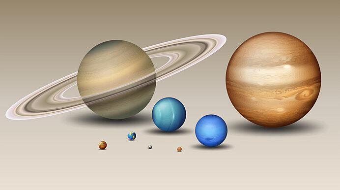 太陽系惑星の大きさの模式図。ガスジャイアントの大きさがわかります