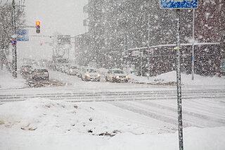 雪で白線が見えない! 頼りになる標識「停止線」「中央線」