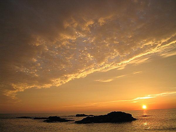 留萌・黄金岬の夕日。